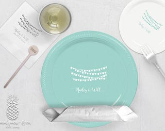 Wedding Lights Party Plates, Napkins or Cups | Plastic Cups | Personalized Plastic Plates | Monogram Napkins | Personalized Stir Sticks