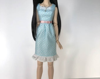 Dollfie Dream Amelia Dress in Pale Blue Polka Dot