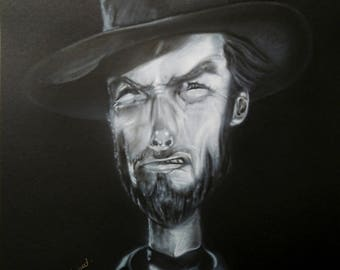 Airbrushed Caricature of Clint Eastwood . The Man with no name