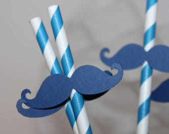 set of 6 Navy Blue for wedding photobooth mustaches straws