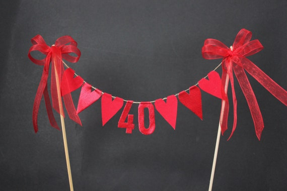 Ruby 40th Anniversary Cake Topper Cake Bunting Cake Flags - Ruby Wedding Cake Toppers