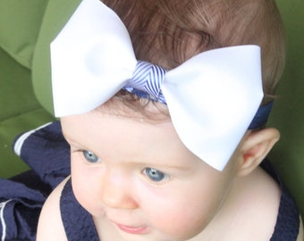 Sailor/Nautical/Summer/White and Blue/Baby Sailor Bow