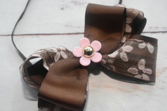 Rustic Brown floral bow - Baby / Toddler / Girls / Kids Elastic Hairclip / Hair Barrette / Hairband / Headband