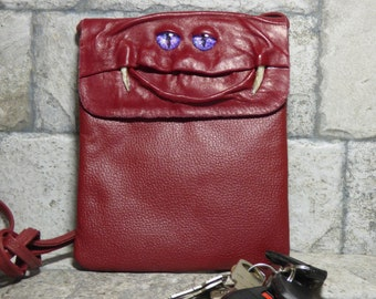 Small Cross Body Purse Pouch Monster Face Red Leather Harry Potter Labyrinth 434