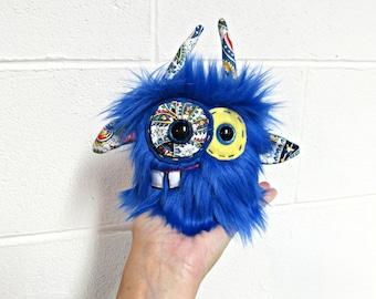 Monster Plush - Handmade Minor Monster Plushie - Blue Faux Fur Monster - OOAK Mini Monster - Small Monster Plush - Weird Monster Soft Toy