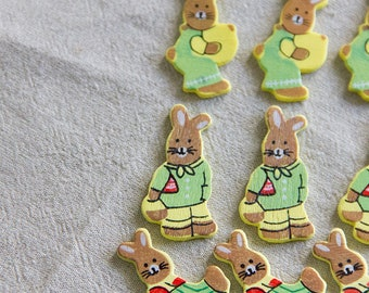 12 wooden colorful tan easter bunny embellishments, for bright spring crafts!