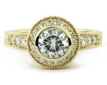 Moissanite Engagement Ring Diamond Bezel Set Vintage Inspired Setting - Kris