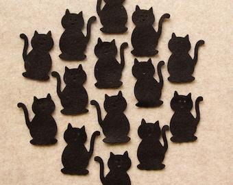 All Black - Cats - 24 Die Cut Felt Shapes