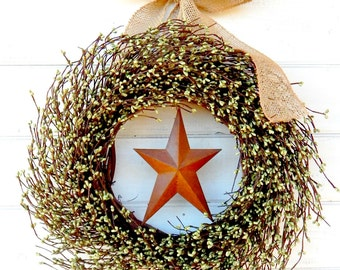 Fall Wreath-Winter Wreath-PRIMITIVE RUSTY STAR-Primitive Christmas Wreath-Holiday Wreath-Primitive Country Decor-Choose Scent & Ribbon