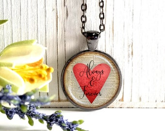 Round Medium Glass Bubble Pendant Necklace- Always And Forever On Red Heart Book Page