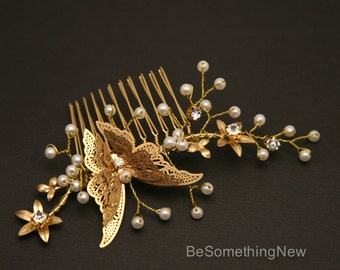 Gold Butterfly Comb, Beaded Golden Boho Hair Comb Gold Wedding Hair Comb, Metal Flower and Butterfly Beaded Comb set