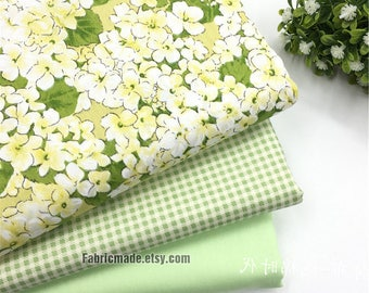 100% COTTON Flower Fabric, Green Floral  Plaid Coordinating Cotton Fabric - 1/2 Yard