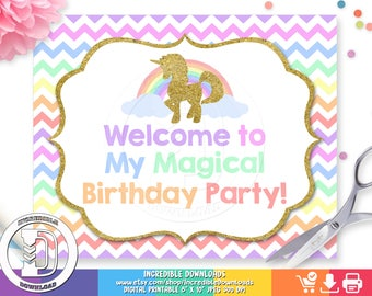 Unicorn Welcome Sign, Unicorn Birthday Sign, Rainbow, Unicorn Birthday Party Sign, Door Sign, Birthday party decorations INSTANT Download