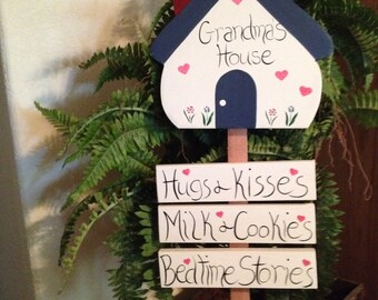 Welcome to Grandma's Hugs and Kisses, Milk and Cookies, Bedtime Stories garden stale