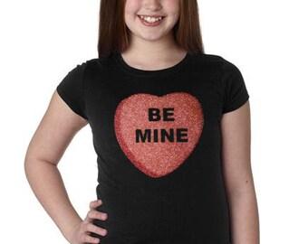 Girls Custom Glitter Bling Conversation Heart shirt