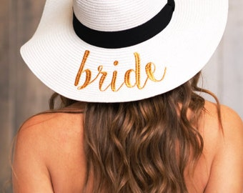 Bride Floppy hat, Bride beach hat, bride summer hat