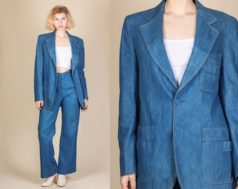 60s Denim Blazer & Pant Set - Large // Vintage Collared Jacket Two Piece Outfit