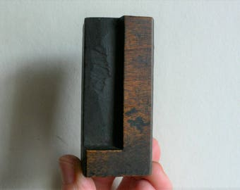 "Letterpress Wood Type L - 3"" Tall 7.5 cm/ Antique Letterpress Wood Printer's Block HAND CARVED rustic"