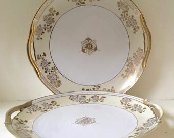 Pair of Vintage Noritake Serving Platters Plates Cream and Gilt with Cut Out Serving Handles Beautiful Hand Painted