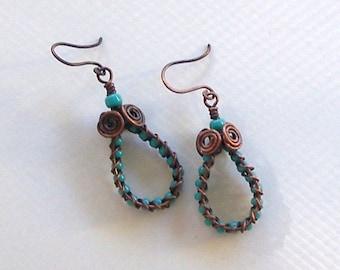 Turquoise & Copper Dangle Hoop Southwest or Boho Style Earrings by Carol Wilson of Je t'adorn
