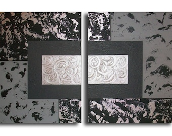 Contemporary abstract painting diptych grey black modern design
