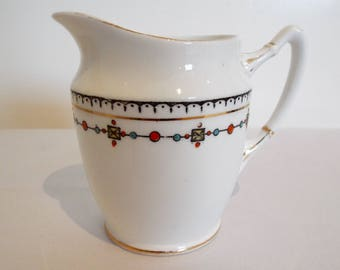 Vintage Royal Albert Milk Jug Or Creamer. 1920s Vintage China White Jug With Jewel Like Pattern. Perfect For A Pretty Afternoon Tea Party