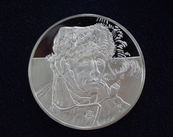 Van Gogh's Self Portrait in Sterling Silver 66.17g
