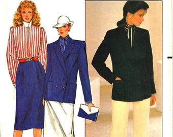 Butterick 4762 Woman's Ellen Tracy Loose Fitted Lined Jacket, Straight Leg Pants, Straight Skirt Sewing Pattern Size 12 Vintage 1980's UNCUT