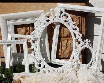 White Picture Frames - Rustic Picture Frame Set - Antique Farmhouse Picture Frames