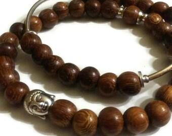 Buddha bead wood bead stretch plus size meditation bracelet set