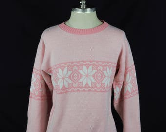 80's Vintage Knit Fair Isle Sweater / Pink / Acrylic / Made in USA