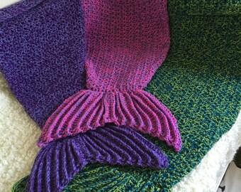 Mermaid Tail Blanket Lapghan Handmade Crochet