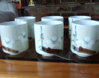 Japanese Tea Cups, Japanese Dishes,  Cherry Blossom Design (set of 6)