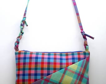Shoulder/Crossbody bag / Clutch - Collage of Patterns - Check - Intense Colours - Attachable Strap - Casual - Youthful - Original - Graphic