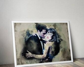 Fifty Shades Darker Print Best friend girl gift idea for Birthday Wall art Movie Book poster Anastasia Steele Christian Grey