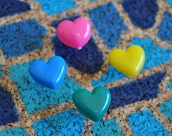 Heart Push Pins (Set of 5) Shaped Thumb Tacks for Travel Cork Maps / Bulletin Boards
