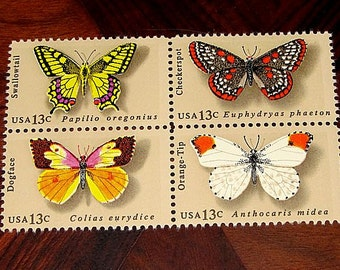 50 Butterfly Stamps .. Vintage UNUSED postage stamps .. 4 Different Butterflies Featured. Gardening gifts, Butterfly Gardens, Gifts for Mom
