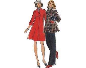 "1970's Butterick 3296 Woman's A-Line Dress, Tunic, Pants Sz 10    Bust 32.5"" /83cm    Vintage Sewing Pattern"