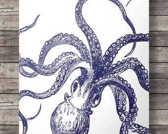 Octopus print, Navy blue, Nautical, coastal, octopus, kraken, tentacles, octopus tentacles, Printable, wall art, art print, INSTANT DOWNLOAD