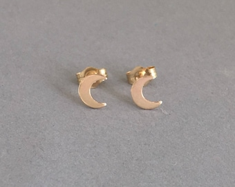 Crescent Moon Post Earrings Gold Fill or Sterling Silver