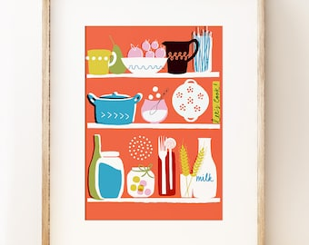 Graphic kitchen wall art print 'Let's Cook!' Kitchen wall decor. Gifts for cooks. Colourful kitchen art poster. Gifts for foodies
