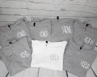 Toddler Size Monogrammed Full Zip Hoodie  Bridesmaid Gift Idea   Zip up monogram sweatshirt   Personalized Gift for Her