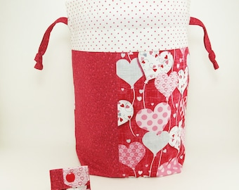 "Knitting Project Bag - New! ""Cheery Balloon Hearts"" Pieced Large Drawstring Project Bag (V)"