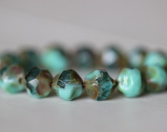 9mm, Central Cut (15) Turquoise, Aqua, Picasso, Czech, Glass, Beads, Fire Polished, Creek Surplus