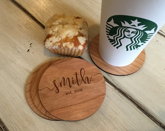 Wood Coaster Set | Gift For Her | Personalized Couples Gift | Christmas Gift | Stocking Stuffer |Gift for Mom | Grandma Gift | Friend Gift