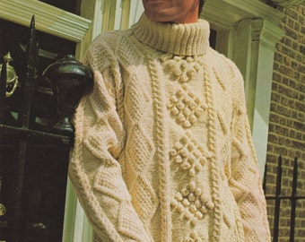 Mens Aran Sweater PDF Knitting Pattern : Mans 40, 42 and 44 inch chest . Bainin Yarn . Patterned . Aran Jumper . Instant Digital Download
