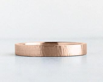 3mm Rose Gold Wedding Band   Tree Bark Texture  Rustic Hammer Texture 10k 14k 18k Gold Ring   Recycled Gold Men's Women's Wedding Ring