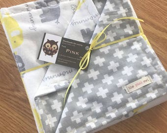 Yellow and gray flannel swaddle baby blanket