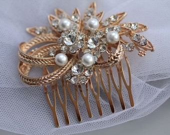 ON SALE Rose Gold Bridal Hair Comb, Bridal Hair Clip, Vintage Wedding Hair Comb, Rose Gold Bridal Accessories, LEATH rg