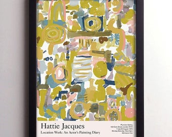 Hattie Jacques Carry On Film Actor, Artist Exhibition Poster, Vintage Movie Poster, Abstract Print, Retro Style British Comedy Art